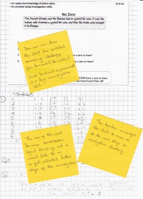 This child has worked out the importance of an appropriate recording strategy, enabling the child to identify a pattern, which in turn might help make a generalisation for subsequent parts of the investigation.
